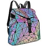 Tikea Geometrische Leuchtende Rucksack Fashion Kunstleder Daypack Holographic Rucksackhandtasche...