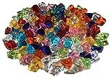 CRYSTAL KING 100 Stück 15mm Glitzernde Bunte Deko Eis Diamanten Brillianten Strasssteine Acrylsteine basteln Dekosteine Gltzersteine Strass Steine Zum Verzieren Dekorieren