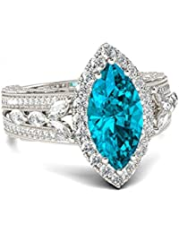 Naitik Jewels 925 Sterling Silver Marquise Cut Diamond Classical Designer Ring For Women