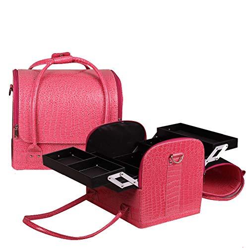 YYLH Krokodilkorn-Make-upbeutel mehrschichtiges PU-Leder-Organisator-Spielraum-kosmetische Schönheits-Aufbewahrungsbehälter-Beruf Multifunktions-große Kapazität beauty case,Pink