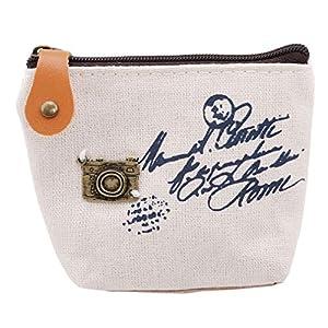 VWH Damen Canvas Geldbörse Zipper Key Autotasche Brieftasche Halter