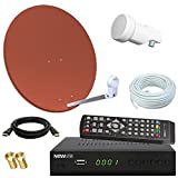 netshop 25 Digitale SAT Anlage mit 60cm Spiegel + HD RECEIVER + 10m Kabel + Opticum...