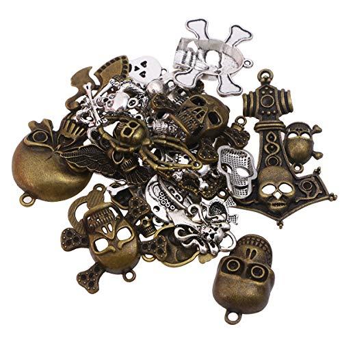 Toyvian 100g Vintage Antike DIY Gemischte Skeleton Form Anhänger Metall Charms Schmuck Machen Anhänger Gemischte Muster ()