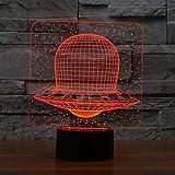 3D Alien Dirigible Modelado Luz de Noche Dormitorio Atmósfera Sueño Iluminación 7 Colores Cambiando Led Spacecraft Lámpara de Escritorio Regalos Decoración