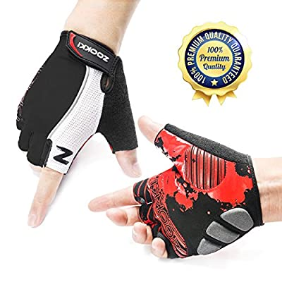 Zookki Cycling Gloves Mountain Bike Gloves Road Racing Bicycle Gloves Light Silicone Gel Pad Biking Gloves Half Finger Bicycling Gloves Riding Gloves Men/Women Work Gloves by Zookki