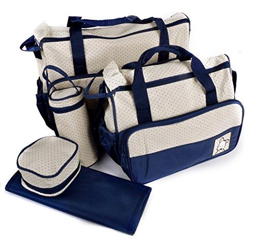 ADOO 5tlg Babytasche Set Pflegetasche Tragetasche Wickeltasche Windeltasche Kinder Baby Blau