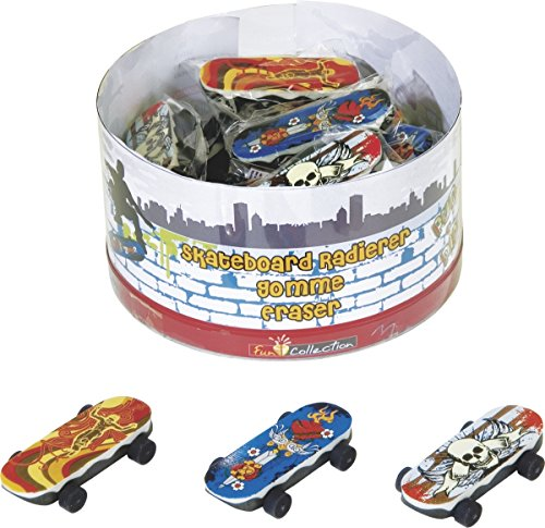 Brunnen 1027320 Radiergummi / Radierer Skateboard Fun Collection, 6 x 2 cm, 3 verschiedene Motive)