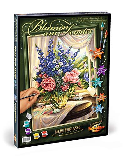 Schipper 609160321 609130601-Malen nach Zahlen-Blumen am Fenster, 40x50 cm