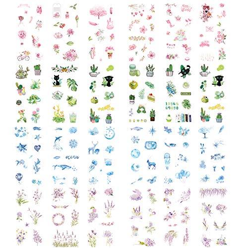 Kawaii Washi Aufkleber (sortiert, 24 Blatt) Rose Sakura Rosa Blume Grün Pflanzen Marine Leben Ozean Seestern Wal Mond Sternenhimmel Luftballon Lavendel Lila Blumen DIY Label für Scrapbooking Journal (Qualle Pflanze)