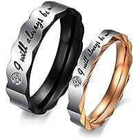 Bishilin Acciaio Inossidabile Anello di Fidanzamento anelli Coppia I Will Always Be With You con (Oro Celtica Claddagh Croce)