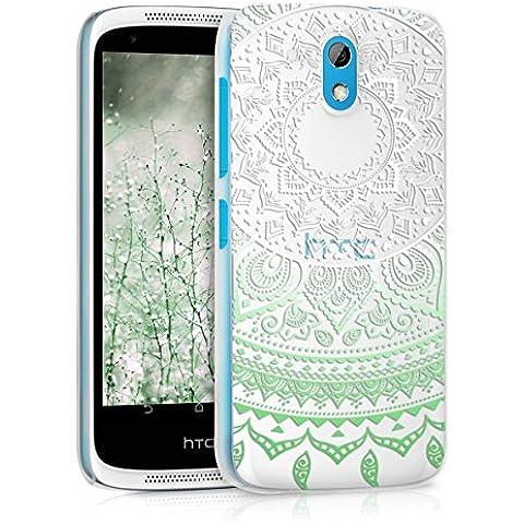 kwmobile Elegante y ligera funda Crystal Case Diseño sol indio para HTC Desire 526G en menta blanco