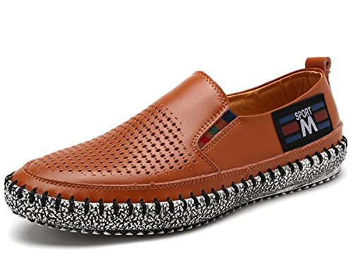 Beauqueen Gentleman's Crocs Lightweight Driving Casual Cuirs Hollow Respirant Soft Outsoles Casual Shoes EU Taille 38-43 Brown