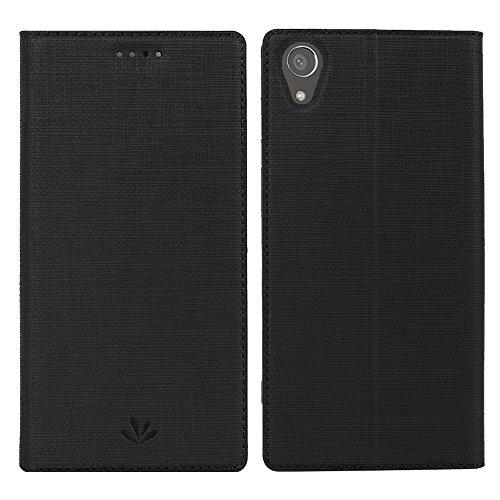 Sony Xperia XA1 Plus Hülle,Eactcoo Dünn Premium PU Leder klappbares Folio Flip Case Book TPU Cover Bumper Tasche Mit Standfunktion Magnetverschluss Kartenfach Wallet Handyhülle (XA1 Plus, Black)