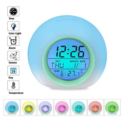 HAMSWAN Sveglia Digitale, Sveglia per Bambini, Sveglia con 7 Colori di Luci LED e 8 Tipi di Suoni, Verde