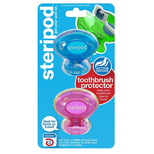 steripod-clip-on-toothbrush-protector-2-pack-pink-and-blue