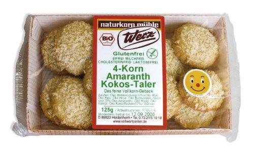 Werz 4-Korn-Amaranth-Kokos-Taler glutenfrei, 2er Pack (2 x 125 g Packung) - Bio