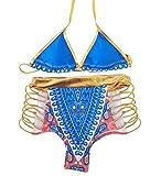 Triangel Bikini Push Up Sexy Gepolstert Abnehmbar - Damen Zweiteiler Bikini Set mit Bikini Oberteil und Hoher Taille Dreieck Bikinihose Blumendruck - Bademode Strand Gebunden, S/3XL + Fußkettchen