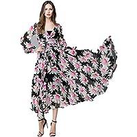 a1085e18656 Bon amixyl Women Chiffon V-Neck Long Sleeve Floral Long Maxi Party Beach  Printed Dress