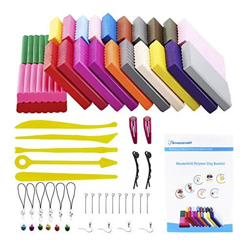 24 colores Arcilla polimérica Botes de Plastilina con 14 Piezas Herramientas de Plastilina y Accesorios