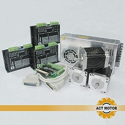 ACT Motor GmbH 3Axis Nema23 CNC Kit 23HS8430 3A 76mm 1,9Nm+DM542 Driver + Power Supply