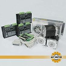 Act Motor GmbH 3pcs NEMA2323hs8630b passo motore 3.0a 76mm 1,35NM + 3pcs dm542controllo con 1pc cavo breakout Board e 18–50VDC 4a 128Micro Steps + 1Power Supply 350W 24V