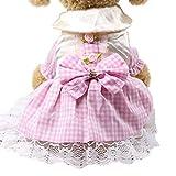 YWLINK Sommer Karierte Spitze Patchwork Süß Prinzessin Kleiden Haustier Hund Katze Kleid Atmungsaktiv Kleidung(Rosa,M)