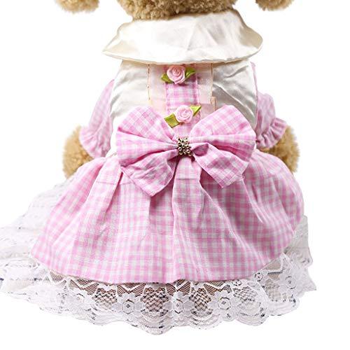 YWLINK Sommer Karierte Spitze Patchwork Süß Prinzessin Kleiden Haustier Hund Katze Kleid Atmungsaktiv (Alter Mann Kostüm Fußball)