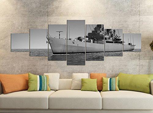 Leinwandbilder 7 Tlg 280x100cm schwarz Zerstörer Schiff Krieg Kriegsschiff Meer Ozean Leinwand Bild Teile teilig Kunstdruck Druck Wandbild mehrteilig 9YB3283, Leinwandbild 7 Tlg:ca. 280cmx100cm