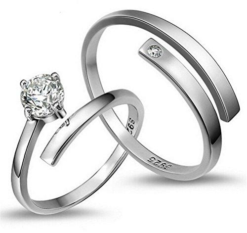 Sterling Silber Einfache Öffnen Verstellbare Ringe Zirkon Ein Paar der Ringe (Halloween-tag Bedeutung)