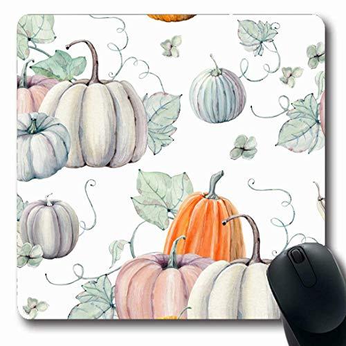 Luancrop Mousepads für Computer Muster Aquarell Kürbisse perfekte Thanksgiving Natur geben Herbst Ernte Helloween Rezept Dank rutschfeste längliche Gaming-Mauspad -