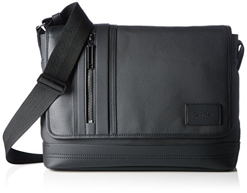 Calvin Klein Jeans Ethan 2.0 Messenger with Flap, Borse a Tracolla Uomo, Nero (Black 001 001), 28x38x10 cm (B x H x T)