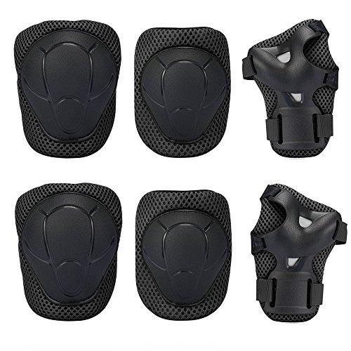 Knee Pad , GIM Kid's Protective Gear Set Knee Elbow Pads Wrist Support for Child Roller /Skating/ BMX /Bike /Skateboard (Black)