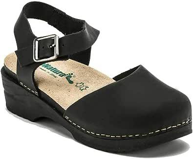 BioNatura 77 C 2071 Sandalo Chiuso Davanti Donna Cinturino Caviglia Pelle Gaucho Nero