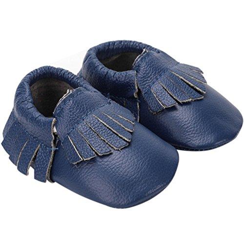 Fire Frog  Baby Genuine Leather Shoes, Baby Mädchen Lauflernschuhe Navy