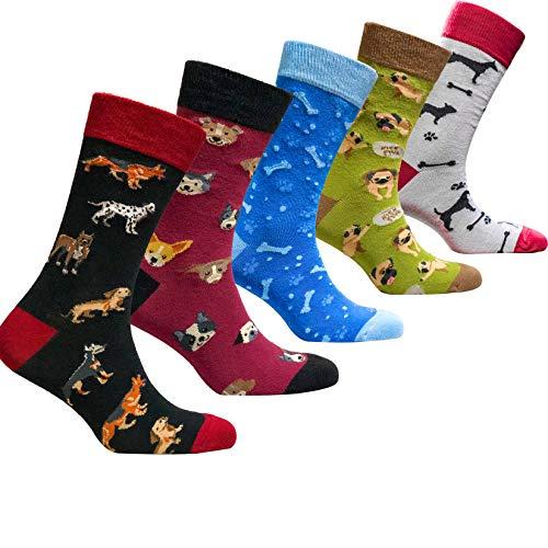socks n socks-Hombres 5 pares Lujo Gracioso Colorido Algodón Novedad Perro Calcetines...