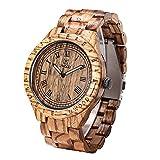 Holzuhr Uwood 47.5mm große Größen-Herren-Holz-Uhr-römische Zahl-Vorwahlknopf-Weinlese-hölzuhr Uhr-Herren Zebra