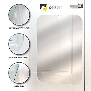 PETFECT Protection de porte contre les griffures de chien Haute qualité pour usage intérieur et extérieur?transparent (35,5x 24)