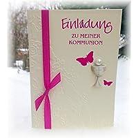 Einladung Einladungskarte Kommunion Konfirmation Schmetterling Kelch pink fuchsia