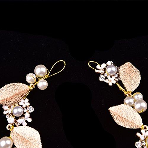 Oshide Haarschmuck Hochzeit Vintage Gold Perlen Haarband Mit Blatt Ohrring Schmuck Set - 4