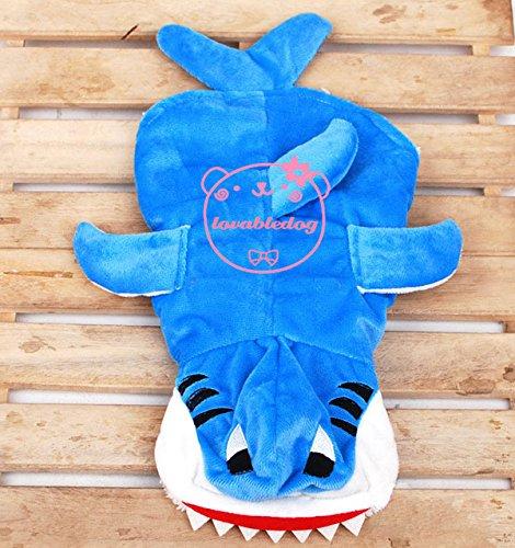 Outfit/Hai-Kostüm für Haustiere/ kleine Hunde/ Katzen, Samt aus, Futter aus Fleece, Größen XS SML XL, (Kostüme Für Hai Hunde)