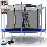 Kinetic Sports Outdoor Trampolin TPLH12 Gartentrampolin für Kinder und Erwachsene mit Randabdeckung und Sicherheitsnetz Ø 370 cm