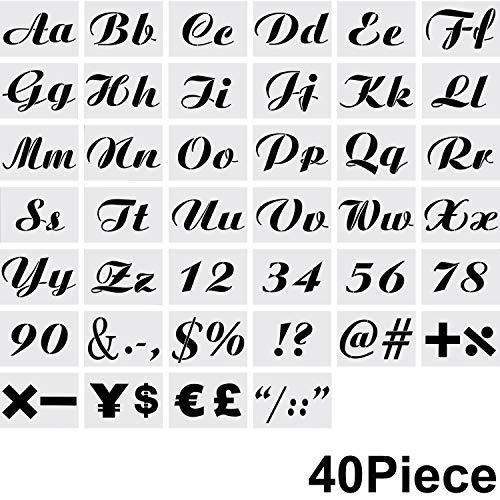 WILLBOND 40 Stücke Brief Schablonen Wiederverwendbare Alphabet Schablonen Handwerk Malerei Schablonen mit Zahlen und Zeichen für Notizbuch Tagebuch Wand -