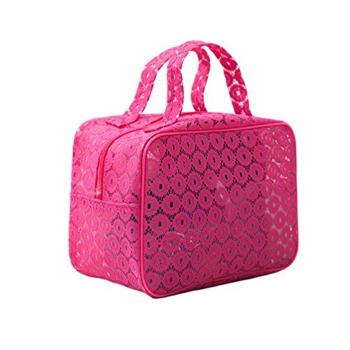 Dexinx Reise Tragbar Kleidertaschen Packing Cubes Organizer für Toilettenartikel Wasserdicht Kosmetik Aufbewahrungstasche Rose1 S