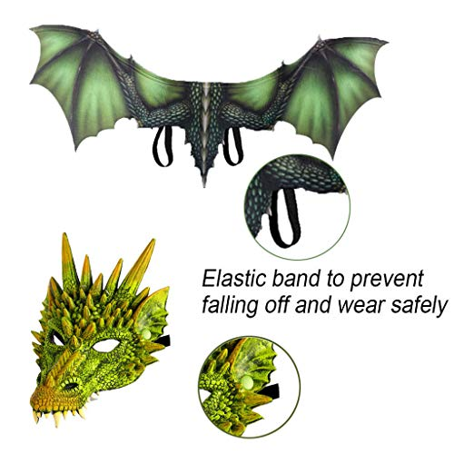 Lomelomme Halloween Cosplay Drache und Dinosaurio Gruseliges Maskenkostüm für Erwachsene Party Deko Requisiten Gruselig Halloween Maske Halloween Cosplay Dinosaurier Flügel -