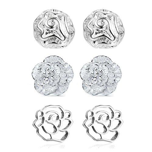 Jiayiqi Bijoux Femmes Jolie Fleur Stud Boucles D'oreilles Plaqués Boucles D'oreilles Argent 3 Pack