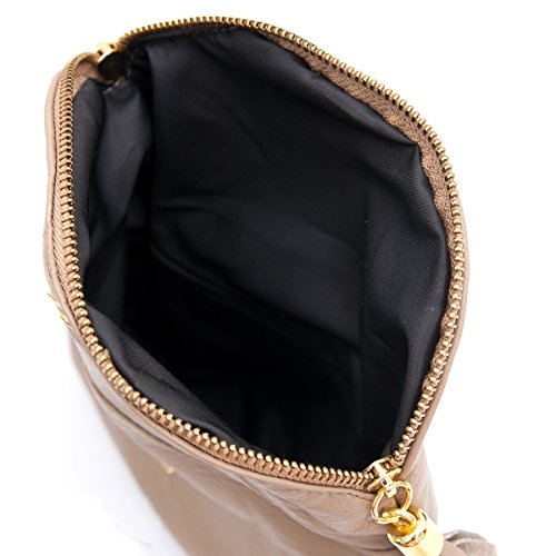 Borse a spalla ,Porchette, Minibag (21/ 17/ 3 cm)in pelle Mod. 2062 by Fashion-Formel Taupe