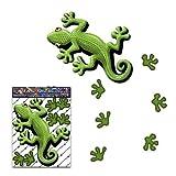 Grüner Gecko Tier Aufkleber für Auto LKW Wohnwagen - ST00031GR_SML - JAS Aufkleber