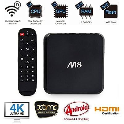 SEGURO® M8 TV BOX Fully Loaded KODI XBMC Quad Core Android 4.4 Streaming Media Player