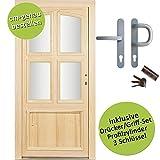 kuporta Fichte Holzhaustür nach Maß Ziegenhain DIN rechts SIZE Haustüren Eingangstür Wohnungstür Holztür mit Drücker/Griff-Set