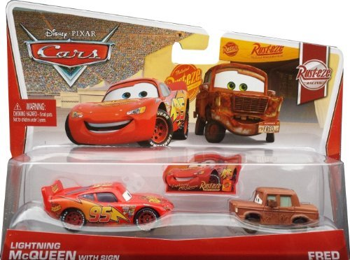Disney Pixar Cars Lightning McQueen with sign & Fred (Rust-eze Racing, #5, #6 of 8)